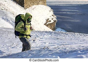hills., rucksack, schnee, trecken, wetter, kalte , berge., mann