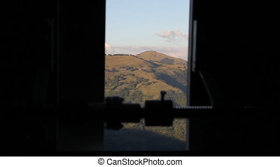 Hills seen from the dome of an astronomical observatory in...