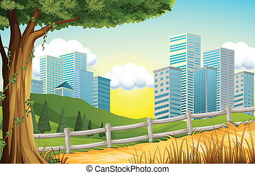 Illustration of the hills with tall buildings nearby