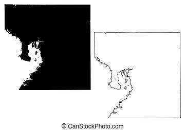 Hillsborough County, Florida (U.S. county, United States of America, USA, U.S., US) map vector illustration, scribble sketch Hillsborough map
