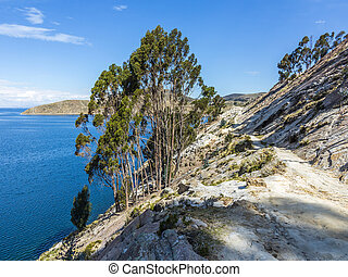 view to Titicaca lake at Isla del Sol