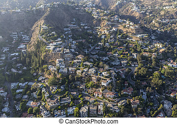 Hillside Homes and Smog Aerial in the Hollywood Hills - ...