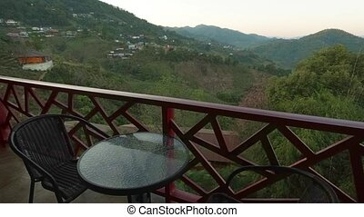 Hillside Landscape View from Hotel Balcony in Thailand - ...