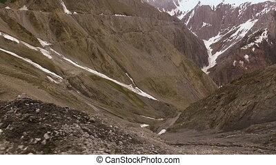 Hillside of Mountains - Handheld, panning wideshot of hilly...