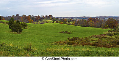 Hillside Panorama - A panoramic view of this early Autumn ...