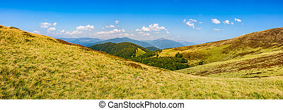 hillside panorama in mountains - panoramic summer landscape...