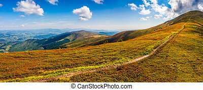 hillside panorama in mountains with path uphill - panoramic...