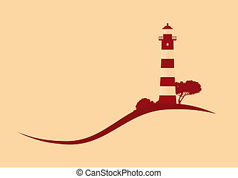 hillside red striped lighthouse vector illustration