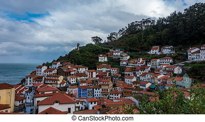 Cudillero fishing village time lapse near ocean - Hillside ...