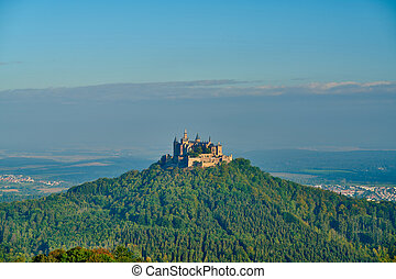 Hilltop Hohenzollern Castle on mountain top in Germany - ...