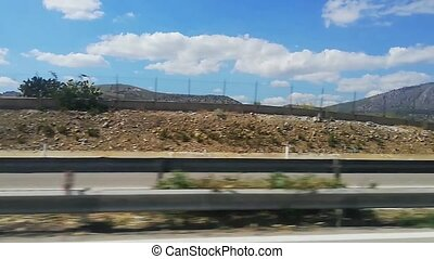 Hilly landscape from the road in Sicily