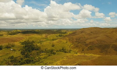 Hilly landscape on Bohol island, Philippines. - Aerial view...