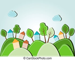 Hilly landscape with houses - Illustration of spring hilly...