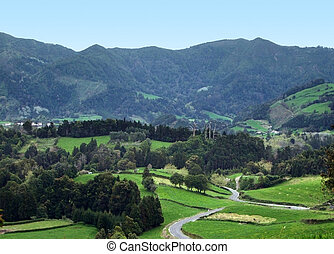 hilly panoramic scenery at Sao Miguel Island