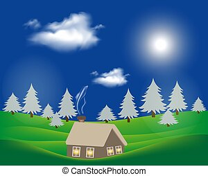 Hilly rural landscape with house and tree.