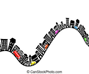 Hilly street - Abstract editable vector design element of an...