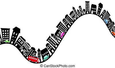 Animated loop cartoon illustration of traffic moving along a steep street in a hilly town