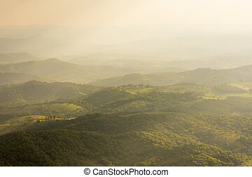 Hilly Valley and diffused sunlight - Hazy diffused sunlight ...
