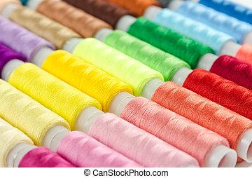 hilo, carretes, plano de fondo, multicolor