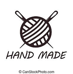 hilo, hechaa mano, logotype, agujas, diseño, madeja