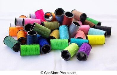 hilos, colores, costura, algunos, vario