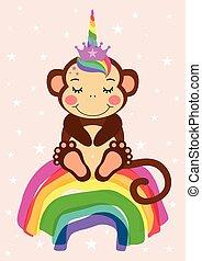 hilsen card, cute, regnbue, siddende, abe, enhjørning