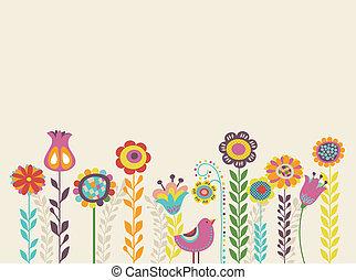 hilsen card, hos, blomster