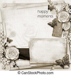 hilsen card, hos, blomster, sommerfugl, på, avis, vinhøst, baggrund