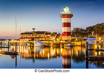 Hilton Head, South Carolina, lighthouse at twilight.