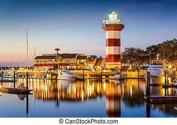 Hilton Head, South Carolina, lighthouse at twilight.
