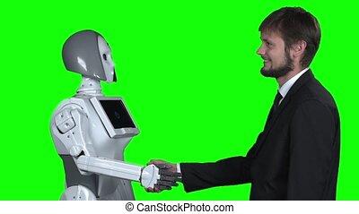 him., secousses, robot, screen., mouvement, lent, salue, mains, vert, type