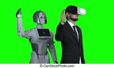 him., sien, réalité, après, haut, virtuel, robot, mouvement, lent, vert, augmentations, screen., vagues, main, type, répétitions, lunettes