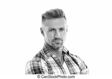 him., włosy, beauty., twarzowy, roots., concept., sklep, kasownik, starzenie się, grizzle, człowiek, hair., anti, petycje, dobrze, dojrzały, szary, fryzjer, transakcja, dobry, hairdresser., model., obrządził konia, samiec, pociągający, patrząc
