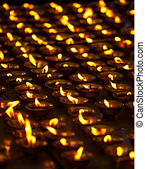 himachal, mcleod, bougies, bouddhiste, tsuglagkhang, ganj, complexe, inde, temple., brûlé, pradesh