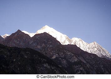 himalaya, bergen, in, zonopkomst, tijd