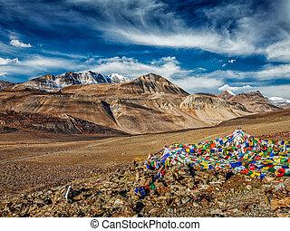 himalaya, bouddhiste, drapeaux, prière