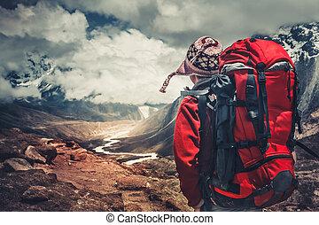 himalaya, góry., hiking