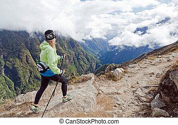 himalaya, góry, kobieta hiking