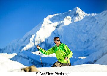himalaya, góry, nepal, hiking, człowiek