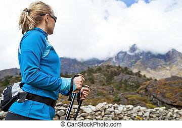 himalaya, montagne, donna, Camminare
