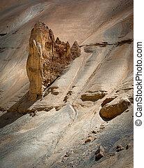 himalaya, montagne, paesaggio., roccia, e, sabbia, formazione, a, pang., india, ladakh, sarchu, pianura, manali-leh, autostrada, vista, altitudine, 4300, m
