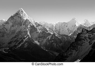 Himalaya Mountains Black and White