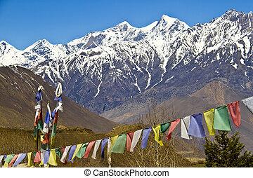 Himalaya Mountains with Buddhist prayer flags
