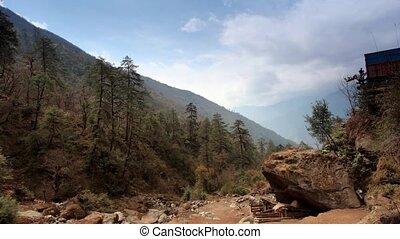 himalaya, nuages, montagnes