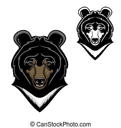 Himalayan bear head mascot, cartoon