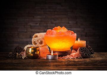 Himalayan crystal lamp - Turned on himalayan crystal natural...