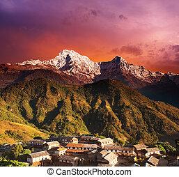 Himalayan fantasy - Himalayan village and Annapurna South ,...