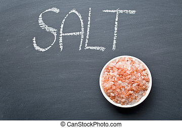 Himalayan salt on blackboard