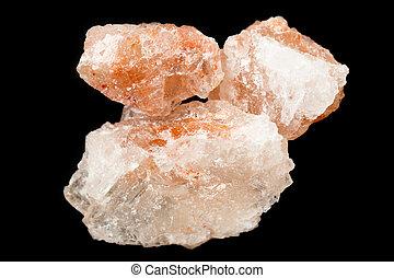 Himalayan salt over black - Crystalline Himalayan pink rock...