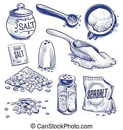 himalayan, salting, 手, salt., スパイス, 海, ナトリウム, 調味料, 水晶, 塩, 型, 引かれる, 成分, ベクトル, セット, 包装, sketch., 粉